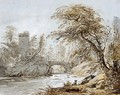 A Traveller And His Dog By A River, A Bridge And Tower Beyond - Paul Sandby