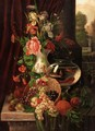 Still Life Of Fruit, Flowers And Gold Fish - G. Tomassi