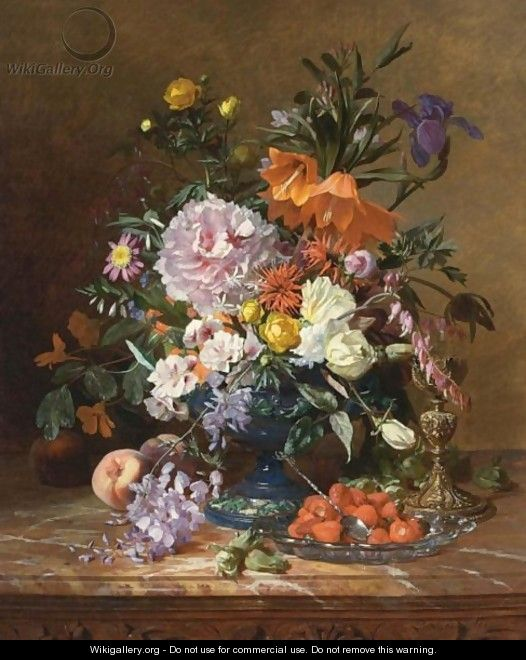 A Still Life With Flowers And Fruit - David Emil Joseph de Noter
