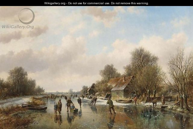 A Winter Landscape With Skaters On A Frozen Waterway - Willem Vester