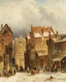 Figures In A Dutch Town In Winter - Charles Henri Leickert