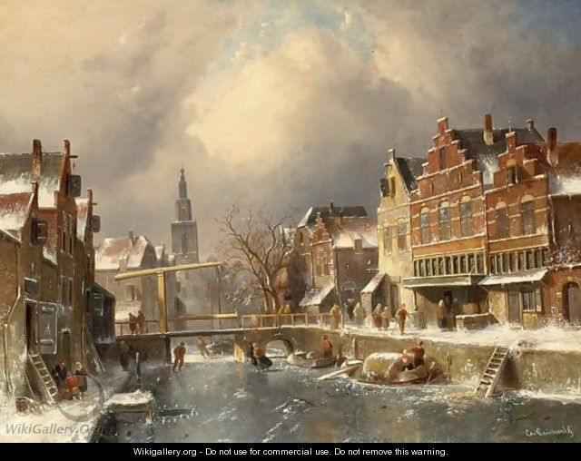The Verdronkenoord, Alkmaar, In Winter - Charles Henri Leickert