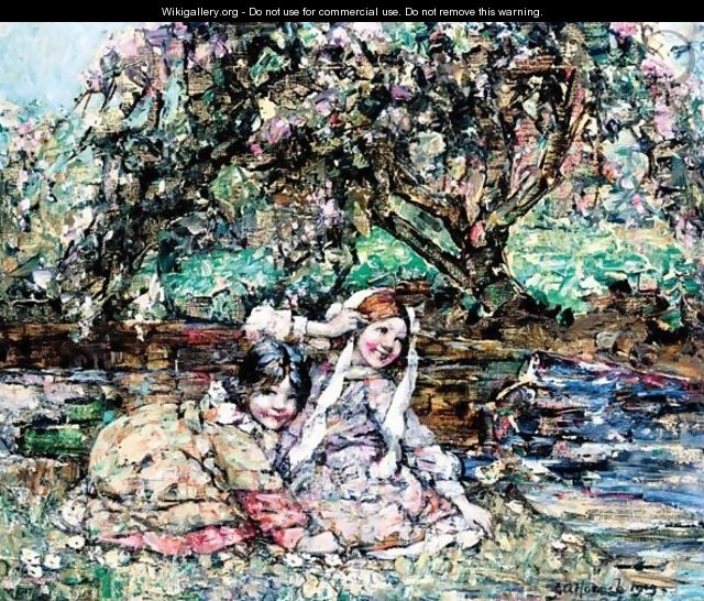 Girls Under The Blossom Tree - Edward Atkinson Hornel