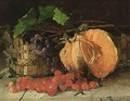 A Still Life With A Pumpkin, Cherries And A Bunch Of Grapes - Henriette Ronner-Knip