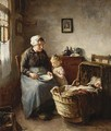 Cottage Interior With Woman And Children - Lammert Van Der Tonge