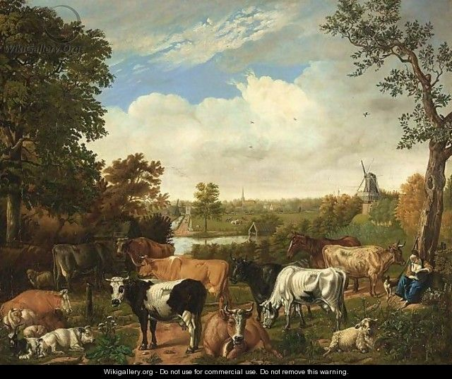 A Wooded Landscape With A Shepherdess Resting Under A Tree With Sheep, Goats And Cows, Rijswijk With The Oude Kerk Beyond - Jan van Gool