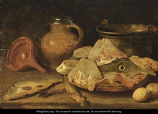 Still Life With A Carp, Herring, Other Fish On A Plate, Lemons, A Stoneware Jug, All On A Wooden Ledge - Flemish School