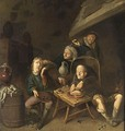 Peasants Drinking And Eating Near A Fireplace - (after) Jan Miense Molenaer