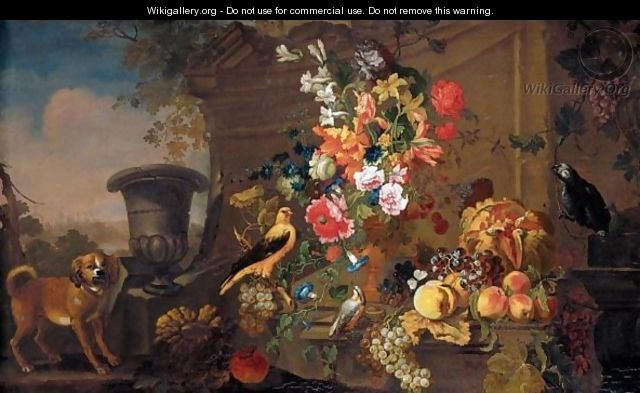Still Life With An African Grey Parrot, A Chaffinch And Another Bird, Together With Flowers In A Bronze Urn And Grapes, Apples, A Melon And Other Fruit Together In A Landscape - (after) Franz Werner Von Tamm