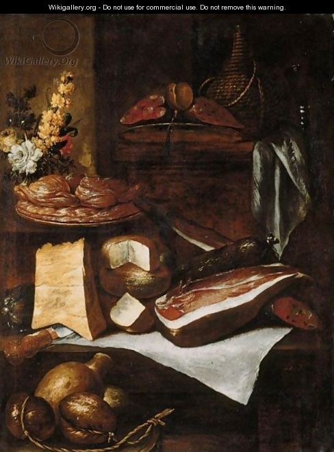 A Kitchen Still Life With A Wine Casket, Parma Ham, Salami, Cheeses, Sweetmeats On A Plate, And A Bunch Of Flowers, All Arranged On A Wooden Table And Ledge - Italian Unknown Master