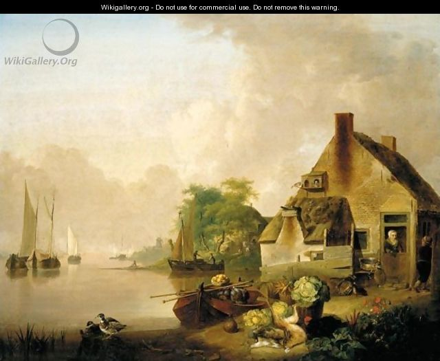 A River Landscape With Moored Sailing Boats And A Village Behind, A Still Life Of Cabbages, Carrots, Hares And A Black Hen In The Foreground - Jan van Os