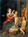 The Virgin And Child In A Classical Setting, St. John The Baptist Kneeling Nearby - Bernaert De Rijcke