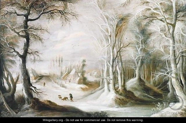 A Winter Landscape With A Peasant Walking Through Snow, A Small Village In The Background - Gysbrecht Leytens