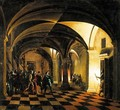 Nocturnal Church Interior With The Taking Of Christ And The Denial Of Saint Peter Beyond - (after) Hendrick Van Steenwijck II