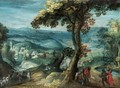 An Extensive River Landscape With Peasants On A Path In The Foreground. - Flemish School