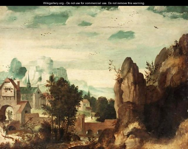 Landscape With A Mountaintop Castle Above A Walled Town - (after) Lucas Gassel