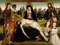 The Pieta With Saint John The Baptist And Saint Roch And Two Donors - School Of Avignon