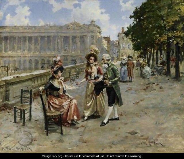 Elegant Ladies At The Tuileries Gardens, Paris - Henri Victor Lesur
