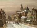 A Snow Covered Dutch Town - Oene Romkes De Jongh