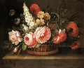 A Still Life Of Flowers In A Basket - French School