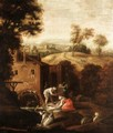 Landscape With Figures Doing Their Laundry Before A Watermill - North-Italian School