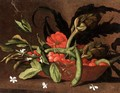 Still Life Of Cherries, Beans And Artichokes In A Basket - Spanish School