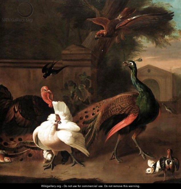 A Peacock With A Turkey, Hen And Chicks And A Swallow Startled By A Bird Of Prey In An Ornamental Garden - (after) Melchior D