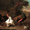 A Peacock With A Turkey, Hen And Chicks And A Swallow Startled By A Bird Of Prey In An Ornamental Garden - (after) Melchior D'Hondecoeter