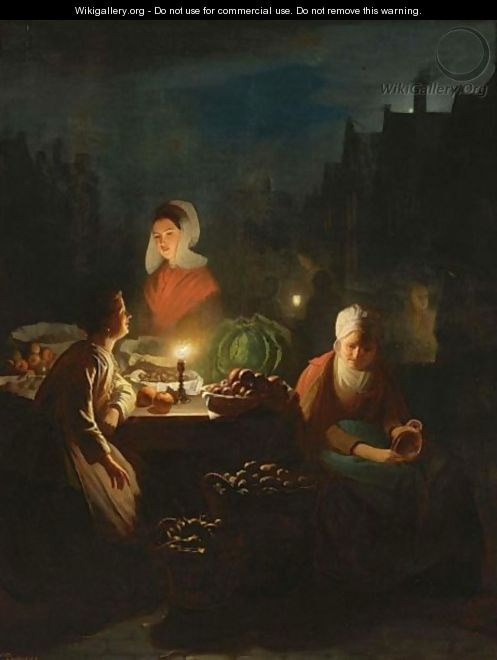 A Vegetable Seller By Candlelight - Johannes Rosierse