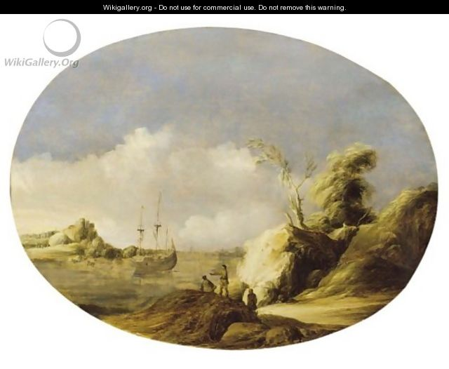 A Coastal Landscape With A Sailing Vessel At Anchor And Figures In The Foreground - Gillis The Elder Peeters