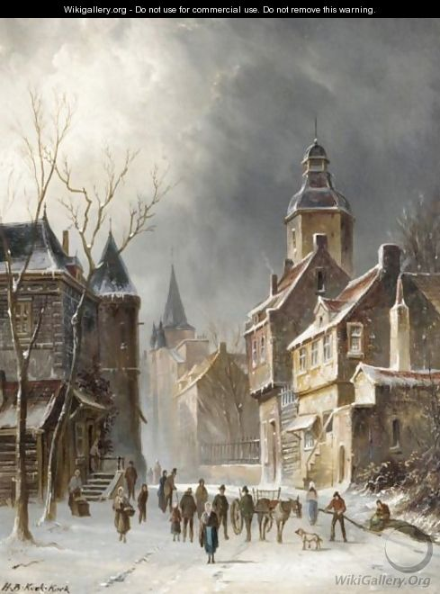 A Street Scene In Winter - Hendrik Barend Koekkoek