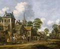 A Village Scene With Horsemen Halting Near An Inn And Other Figures Drinking Around Tables And In The Street - Thomas Heeremans