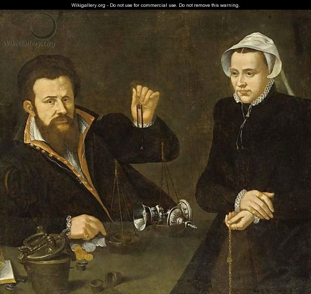 A Portrait Of A Pawn Broker And His Wife Valuing A Silver Cup And Cover On A Balance - Netherlandish School