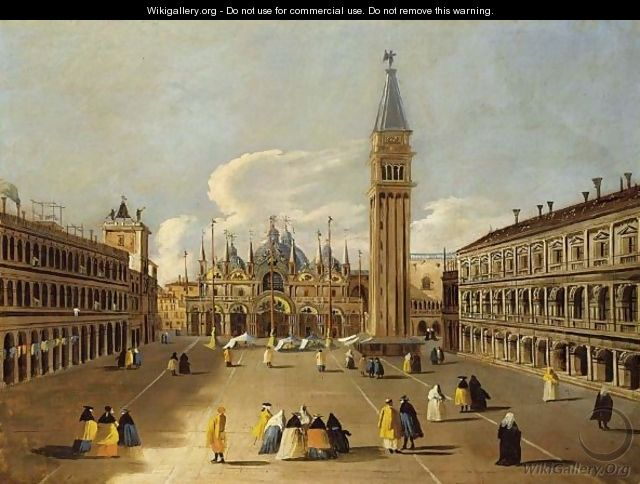 Venice A View Of The Piazza San Marco With Elegant Figures Dressed In Carnival Costumes - (after) (Giovanni Antonio Canal) Canaletto