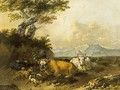 Cows And Sheep In An Italianate Landscape With A Shepherd Resting - Jan Frans Soolmaker