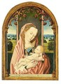 The Virgin And Child Enthroned Within A Feigned Window Before A Landscape - (after) Rogier Van Der Weyden
