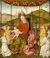 The Enthroned Virgin And Child, Accompanied By Four Angels Holding A Canopy, A Cityscape Near A River Beyond - German School
