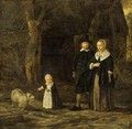 A Portrait Of An Elegant Couple, Standing Full-Length, With Their Child Playing With A Sheep, In A Garden Setting - Dutch School