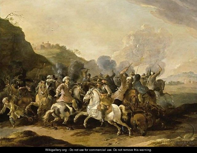 A Calvalry Battle Scene Between Turkish And Christian Soldiers - Simon Johannes van Douw