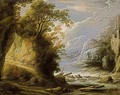 A Mountainous River Landscape With An Oriental Traveller And Donkeys On A Path - Jan van de Venne