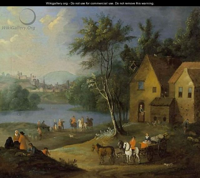A Village Scene With Figures, Horsemen And A Horse-Drawn Cart Near A River, A Town In The Distance - Flemish School