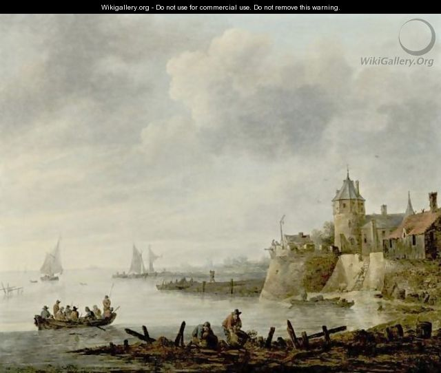 River Scene With A Fortified Shore - (after) Jan Van Goyen
