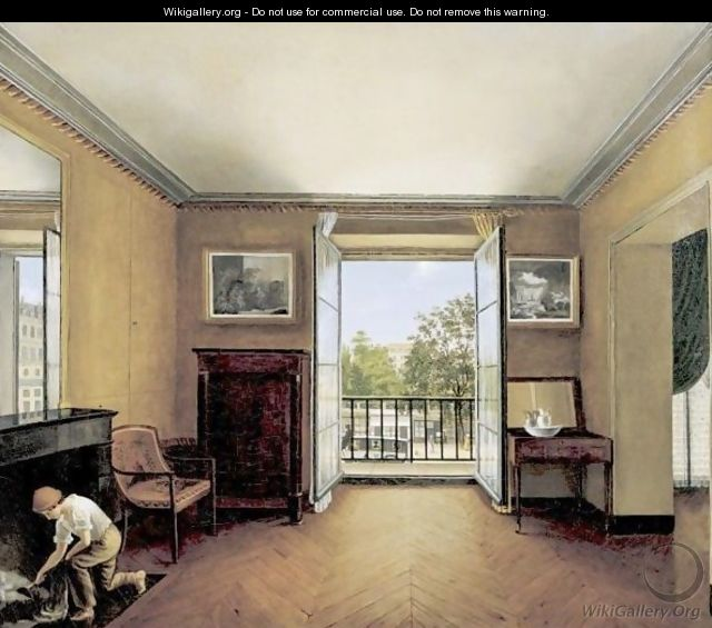 Interior With A Young Chimney Sweep And A View Of Paris Beyond - French School