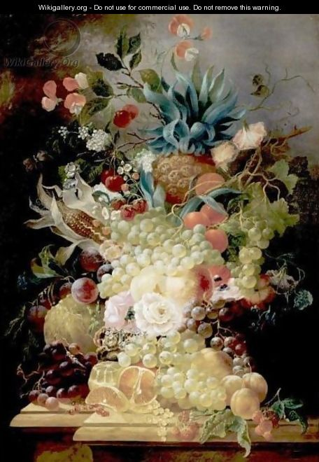 Still Life Of Various Fruits And Flowers On A Ledge Including A Pineapple And An Ear Of Corn - Jan Evert Morel