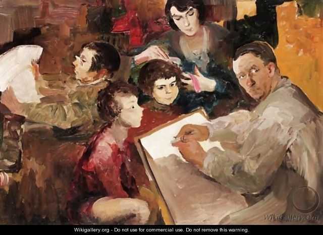Self Portrait Of The Artist With His Family - Philip Andreevich Maliavin