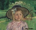 Little Girl In A Stiff, Round Hat, Looking To Right In A Sunny Garden - Mary Cassatt