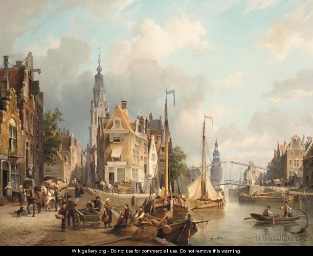 A View Of The Oudeschans With The Zuiderkerk And The Montelbaanstoren In The Distance, Amsterdam - Cornelis Christiaan Dommelshuizen