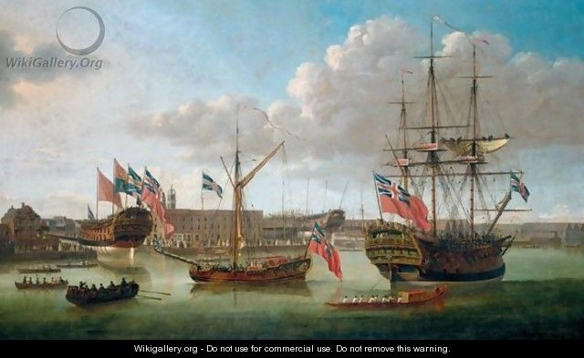 Deptford Dockyard, Showing The Launch Of The Medway, 1754 - John the Elder Cleveley