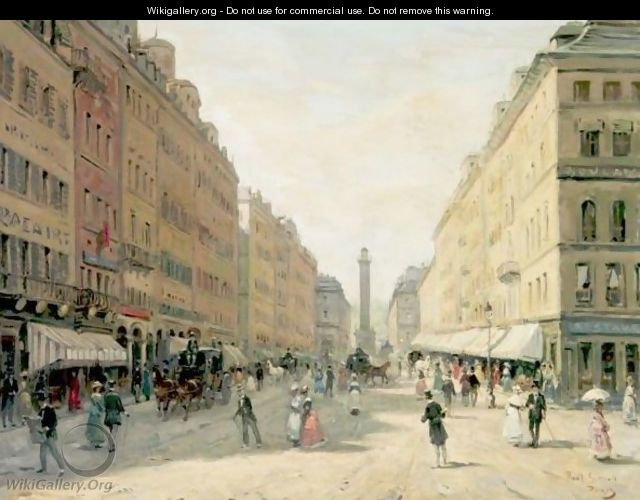 Street Scene With Monument In The Distance, Paris - Paul Giroud