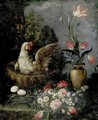 Still Life With Flowers And Hen - Italian School